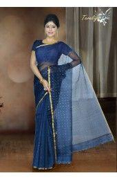 Midnight Blue Color Matka Silk Handloom Saree