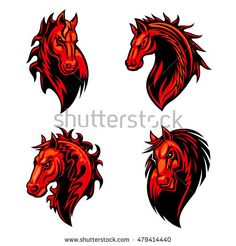 Flaming horse mascot of dangerous fiery red stallion with mane decorated curly fire flames and tribal ornament. Sporting team, equestrian sport and t-shirt print design