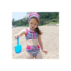 Sweet candy stripe tankini set with cute little buttons