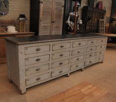 Meuble semainier chiffonnier grainetier bois 15 tiroirs for Les meubles a tiroirs plats