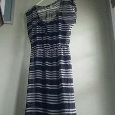 Old Navy Dress with black slip Black and gray stripes never worn Old Navy Dresses Midi
