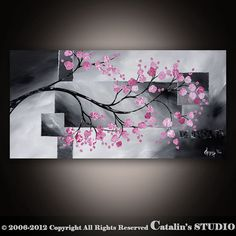 Original Modern Landscape Asian Zen Tree Blossom by Catalin,