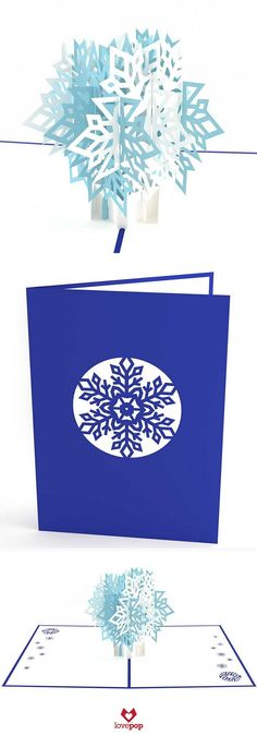 Send dreams of a white Christmas with this sparkling snowflake pop up card. Use this wintery paper art to say Happy Holidays or Merry Christmas. #seasonsgreetings