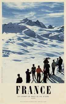 vintage ski poster - M. Carabin (Photo)   VAL D'ISERE 1957
