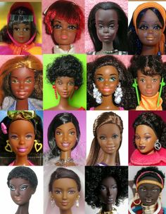 Head sculpts used for Mattel's Black Barbie