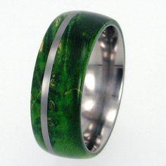 Waterproof wood Titanium Ring with Box Elder Burl Wood and Titanium Pinstripe $236.00