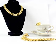 Vintage Trifari| Trifari Jewelry set | 1960's Necklace| Earrings and Bracelet| Gold Tone| Gift for Her| Holiday Gift| Christmas Gift