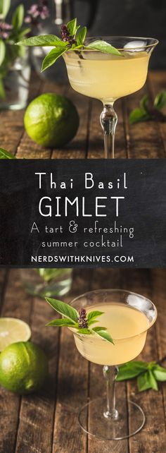 Together with lime, elderflower liqueur, and good quality gin, the Thai basil gimlet is a cool twist on an elegant classic. Refreshing Cocktails, Summer Drinks, Basil Gimlet, Gimlet Recipe, Great Recipes, Yummy Recipes, Favorite Recipes, Vietnamese Grilled Pork, Sour Cocktail