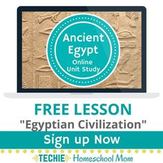 """Sign up for your free """"Egyptian Civilizations"""" lesson & try out the Ancient Egypt Online Unit Study. This online homeschool course integrates multiple subjects for multiple ages of students. Access websites and videos and complete digital projects. With Online Unit Studies' easy-to-use E-course format, no additional books or downloads are needed. Just gather supplies for hands-on projects and register for online tools. Click for your free lesson."""