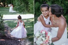 Matt Shumate Photography at Lawson Gardens outdoor summer wedding flower girl and the bride