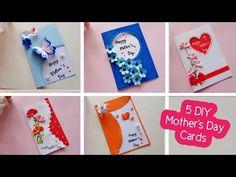 5 DIY Mother's Day greeting cards/Easy and Beautiful card   ทำการ์ดวันแม่ 5 แบบน่ารักๆ - YouTube Handmade Teachers Day Cards, Handmade Birthday Cards, Happy Birthday Cards, Mothers Day Cards Homemade, Homemade Cards, Craft Stick Crafts, Paper Crafts, Beautiful Birthday Cards, Mother's Day Greeting Cards