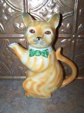 Vintage H.J. Wood England Figural  Tea Pot Pussy Foot Kitty Cat