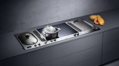 vario 200 compact modular series includes gas cooktop, electric cooktop, gas wok burner, teppanyaki, electric grill, in-counter steamer, electric deepfryer, and downdraft ventilation
