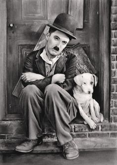 Happy birthday to Charlie Chaplin. Charles Spencer Chaplin was born in London, England, on April Smile Charlie Chaplin, Charles Spencer Chaplin, Films Cinema, Photo Vintage, Silent Film, Vintage Hollywood, Caricatures, Retro, Dog Life
