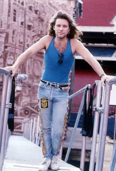 "Jon Bon Jovi - walking on catwalk he designed for stadium shows, starting with the Giants Stadium concert referred to as 'The Dance' in ""Access All Areas"" rock doc Jon Bon Jovi, Bon Jovi 80s, Bon Jovi Pictures, Giants Stadium, Bon Jovi Always, Jesse James, No One Loves Me, Cool Bands, Rock And Roll"