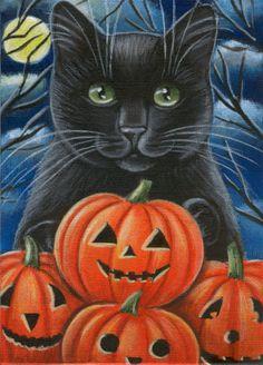 Halloween Cat Painting in Acrylics,,Beautiful Hello Kitty Halloween, Halloween Cat, Vintage Halloween, Old Halloween Photos, Teacup Kitten, Black Cat Art, Black Cats, Halloween Painting, Cat Tattoo