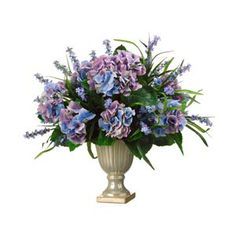 Hydrangea and Lobelia make for a royal interior decoration.