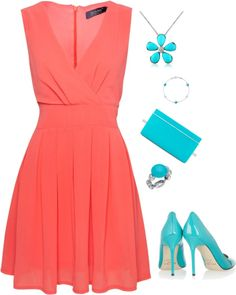 """Coral with Turquoise Accessories"" by shemomjojo on Polyvore"