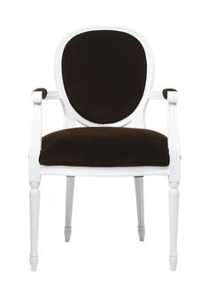 BRADLEY  'Remy'  Louis VX Chair with white lacquered frame and BRADLEY Chocolate velvet.