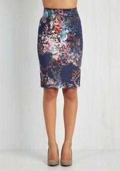 Brilliant Blogger Skirt - Pencil, Good, Blue, Mid-length, Cotton, Knit, Blue, Floral, Work, 50s, Multi, Vintage Inspired, Spring, Summer