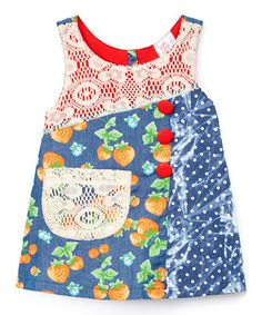 Look at this #zulilyfind! Blue Strawberry Lace Jumper Dress - Kids & Tween #zulilyfinds