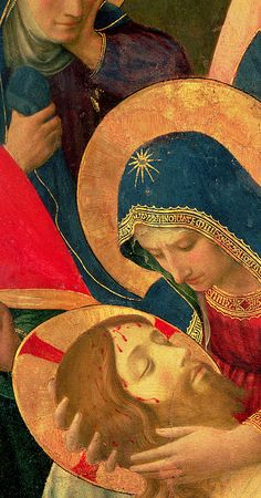 """Fra Angelico - Renaissance - """"Deposition from the Cross"""" detail of the Virgin Mary, 1436 Religious Pictures, Jesus Pictures, Religious Icons, Religious Art, Fra Angelico, La Pieta, Jesus E Maria, La Madone, Images Of Mary"""
