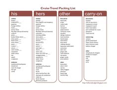 Wife on a budget: printable cruise packing list let's travel Cruise Checklist, Packing List For Cruise, Cruise Tips, Cruise Travel, Cruise Vacation, Travel List, Vacation Trips, Disney Cruise, Packing Tips