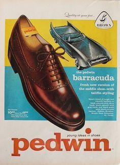 1958 Pedwin Barracuda men's shoe advertisement.