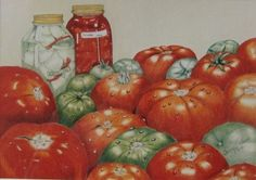Color Pencil Drawing Canned Tomatoes Print artist by BigFatArtBarn, $100.00