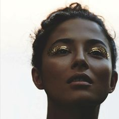 #gold #goldleaf #beauty #makeup #fashion #marieclaire Marie Claire UK, August 2016, Beauty Serie  Photography: Simon Upton Model: Jessica Gomes Styling: Lisa Oxenham Hair: Leon Gorman Make-Up: Sonia Deveney