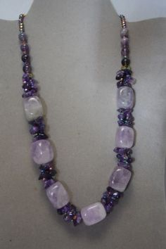 HAND CRAFTED PURPLE AMETHYST  BEAD NECKLACE/ FACETED PEACOCK GLASS BEAD   in Jewelry & Watches, Vintage & Antique Jewelry, Vintage Handcrafted, Artisan | eBay