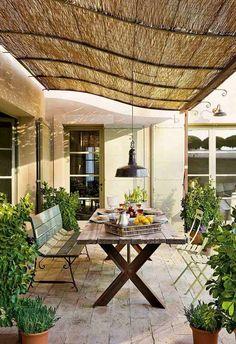 Mediterraner Garten-terrasse Sonnenschutz Essbereich-rustikal ... Gestaltungsideen Essbereich Im Freien