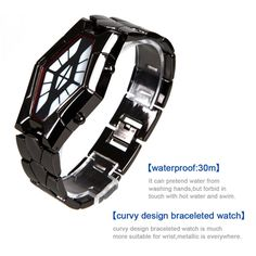 Fashionable snake-like modelling design, super bright led display time, tungsten steel band, high strength glass mirror, Men's peculiar cool led watch. Led Watch, Wish Shopping, Sport Watches, Fashion Watches, Red And Blue, Snake, Steel, Band