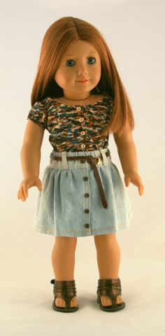 American Girl Doll Clothes - Gathered Denim Skirt, Floral Top, and Leather Belt.