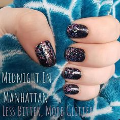 Midnight in Manhattan overlaid with Less Bitter, More Glitter. Overlays and clear designs are a fun way to make each manciure or pedicure your very own. Nail Color Combos, Nail Colors, Cute Nails, Pretty Nails, Hair And Nails, My Nails, Glitter Nails, Nail Polish Strips, Color Street Nails
