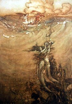Arthur Rackham ~ Jewels from the Deep ~ 1909 Pen and Ink and Watercolor ~ 356 x 253 mm Harris Museum and Art Gallery, Preston, UK According ...