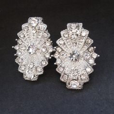 Art Deco Style Bridal Wedding Earrings Vintage Style by luxedeluxe