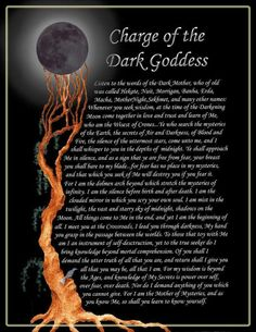 """This is a variation on the Invocation to Nuith in Crowley's Book of Thoth which is earth shaking beautiful. Here is the Book of Shadows: """"Charge of the Dark Goddess 2 - page by jezebelwitch, at deviantART. Wiccan Spell Book, Wiccan Witch, Wicca Witchcraft, Magick Spells, Witch Spell, Samhain, Hecate Goddess, Moon Goddess, Eclectic Witch"""