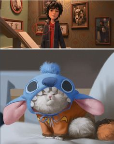 If you look closer at the family pics on the staircase wall in BH6 there is a picture of an extremely grumpy Mochi dressed up as Stitch from Lilo & Stitch.
