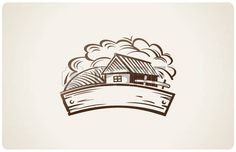 house logo: Graphical rural landscape with house. Illustration