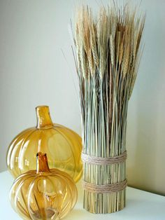 Here's an inexpensive take (under $10!) on a popular store bought fall centerpiece idea.