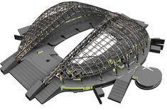 Truss Structure, Steel Structure Buildings, Building Structure, Building Design, Stadium Architecture, Bamboo Architecture, Concept Architecture, Architecture Details, Civil Engineering Construction