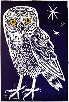 Owl #featured #linocut #Mark-Hearld