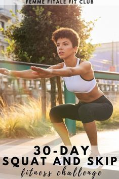 Looking for the ultime squat and jump rope challenge? This 30-day squat and skip challenge will change things up while toning your glutes and improving your heart health. #squatchallenge #jumpropechallenge #fitnesschallenge