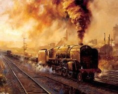 Trains from Alan Fearnley Uk Rail, Steam Art, Old Steam Train, Railroad History, Steam Railway, Train Art, British Rail, Steam Engine, Steam Locomotive