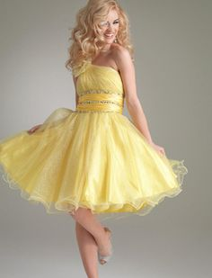 A-line Beads Sweetheart One-shoulder Yellow Organza Short-length Prom Dresses / Cocktail Dresses DIB130163