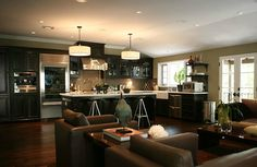 Kitchen / Living Room combo - Wood Floors.    Jeff Lewis Design