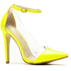 CiCiHot Liliana Yellow Pointed Toe Ankle Strap Vinyl Heels ($29) ❤ liked on Polyvore