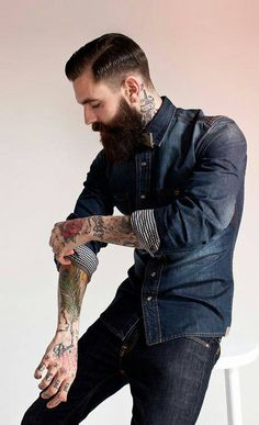 Ricki Hall in all denim - very dark full thick beard and mustache undercut hair beards bearded man men mens' style jeans tattoos tattooed #beardsforever