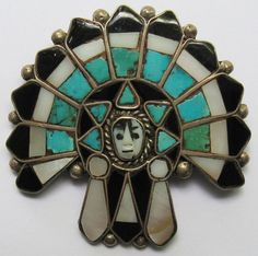 UNIQUE VINTAGE ZUNI INDIAN STERLING INLAID ONYX TURQUOISE CHIEF HEADDRESS PIN
